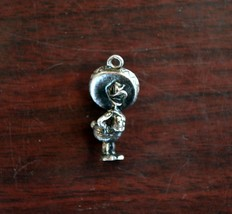 "Vintage Disney Sterling Silver Charm 7/8"" Three Caballeros Donald Duck - $24.74"