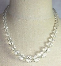 VTG Sterling Silver .925 Clear Cut Crystal Beaded Art Deco Choker Neckla... - $79.20