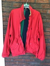 Nautica Reversible Jacket XL Red Striped Lightweight Coat Sailing Boat Vintage image 7