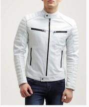 Mens White  genuine Leather Handmade Bespoke cowhide Jacket Real Leather Jacket - $118.79+