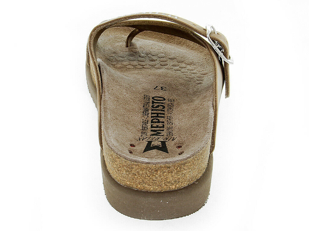 Sandalia plana MEPHISTO HELEN SP C de cuero cammello - Zapatos Mujer
