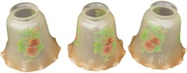 17085 Set of 3 Hand Painted Electric Lamp Shades Antique - $85.00