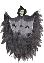 Scary Halloween Decorations Hanging Light Up Grim Reaper Prop Haunted Ho... - $14.99