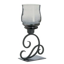 Scrolling Flourish Design Black Iron Candle Holder with Smoked Glass Candle Cup - $34.49