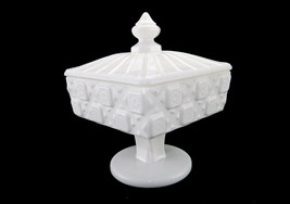 Vintage Westmoreland Covered Candy Dish, Milk Glass, Old Quilt Design, 1... - $19.55