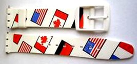 Swatch Replacement 17mm Plastic Watch Band Strap Flags - $8.33