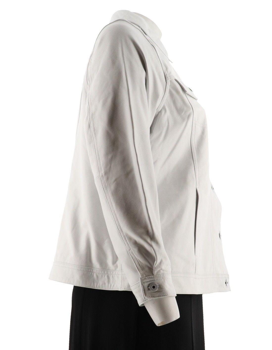 Denim & Co. Cordero Cuero Largo SLV Cuello Jean Jacket Blanco Suave XL Nuevo
