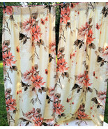 Stunning Mid Century Tropical Floral Textured Raw Silk Pleated Curtains ... - $125.00