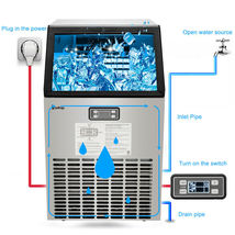 270W-500W 99Lbs 115V 60Hz Stainless Steel Commercial Ice Maker Black US Plug image 3