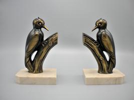 FRANJOU MOREAU - Pair stylised Art Deco woodpecker bookends signed Franj... - $390.00