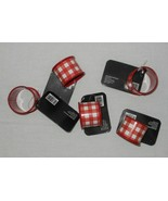 5 Pc Farmhouse Country Red Buffalo Check Napkin Rings Holders NWT FREE S... - $34.64