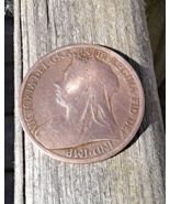 1897 Great Britain Penny Queen Victoria Britannia Circulated  - $17.99