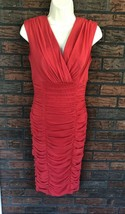 Sangria Ruched Dress Size 8 Body Control Flattering Lined Red Orange Bac... - $19.80