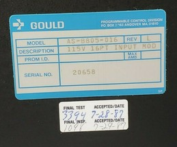 LOT OF 4 GOULD / MODICON AS-B805-016 INPUT MODULES 800 I/O 115VAC 16PT image 2