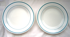 Pyrex Set of 2 Luncheon Plates Milk Glass with Turquoise Thick & Thin Line Rim - $14.99