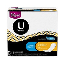U by Kotex Lightdays Liners, Regular, Fragrance-Free, 4 Pack of 129 Count