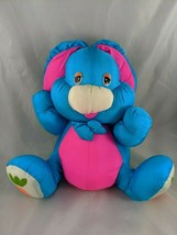 "Fiesta Blue Pink Rabbit Nylon Plush PC Bunny Carrot 1989 11"" Stuffed Animal toy - $13.90"