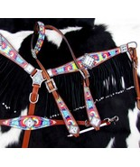 WESTERN HORSE BLING! RAINBOW TIE DYE BRIDLE BREAST COLLAR WITHER STRAP T... - $118.80