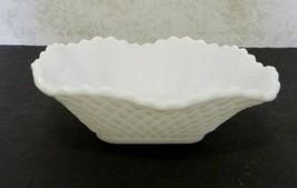White Milk Glass Diamond Patten Ruffled Edge Candy Dish Saw Tooth Edge V... - $14.73