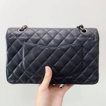 BRAND NEW AUTH Chanel Medium Black Caviar Classic Double Flap Bag SHW image 6