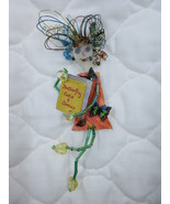 Handcrafted Brooch Pin Girl Frizzy Hair Wire Beads Plastic Book OOAK Unu... - $5.49