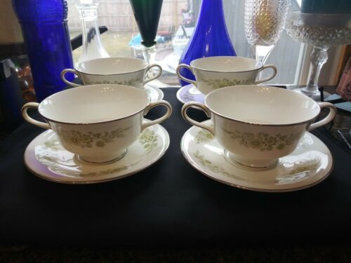 Wedgwood Caroline 14 Soup Cups & Saucers Bone China Made in England White Green