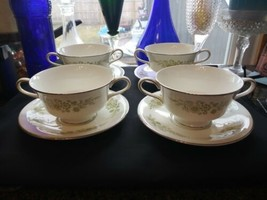 Wedgwood Caroline 14 Soup Cups & Saucers Bone China Made in England White Green - $79.15