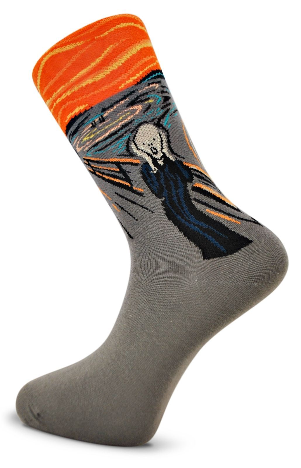 Grey Mens Socks with Edvard Munch The Scream design by Frederick Thomas