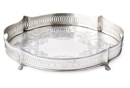 ANTIQUE STYLE BRASS WITH SILVER FINISH PIERCED GALLERY TRAY,17.5'' L X 1... - €113,52 EUR