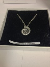 """Ammonite Fossil AKR Emblem on Silver Platinum Plated Necklace 18"""" - $13.49"""