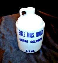 Stoneware 4/5 Quart Crock Whiskey Jug, Ehrle Bros. Winery Amana Colon AA18-1187 image 1