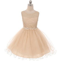 Champagne Stretch Lace Bodice Knee Length Girl Dress Flower Patch on Waistline - $44.99+