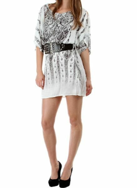 open shoulder short cocktail clubwear tunic mini dress belted  image 2