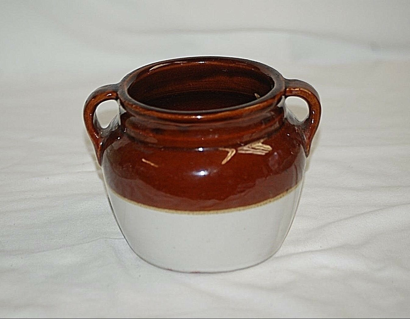 Old Vintage Red Wing Stoneware Pottery Two Handled Crock Bean Pot w/o Lid - $29.69