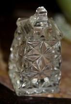 VINTAGE Clear Glass Crystal Salt Condiment Jar Lid w/o Spoon Diamond Pat... - $19.99