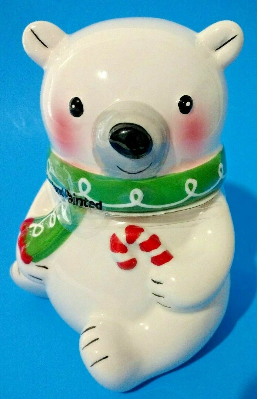 Primary image for Baby Polar Bear Christmas Candy Mini Cookie Jar White Ceramic Holiday Time