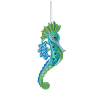"KURT ADLER 4.25"" RESIN MERMAID FANTASY SEAHORSE NAUTICAL XMAS ORNAMENT S... - $9.88"