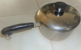 Vintage REVERE WARE 1 Quart Sauce Pan & Lid Stainless & Copper Bottom #99J - $22.99