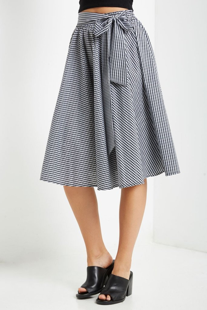 42d9afbd27b460 Black Gingham Skirt, Full Circle Skirt, Full Midi Skirt, Womens ...