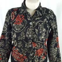 Women's Chico's 1 Button Up Tapestry Blazer Jacket Black w/Gold Tone Bea... - $19.80