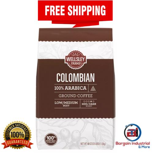 Wellsley Farms Colombian Ground Coffee Medium-Dark Roast 40 oz FREE SHIPPING - $28.15