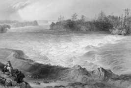 CANADA Long Sault Rapids St. Lawrence River - 1840s Engraving Print by B... - $16.83