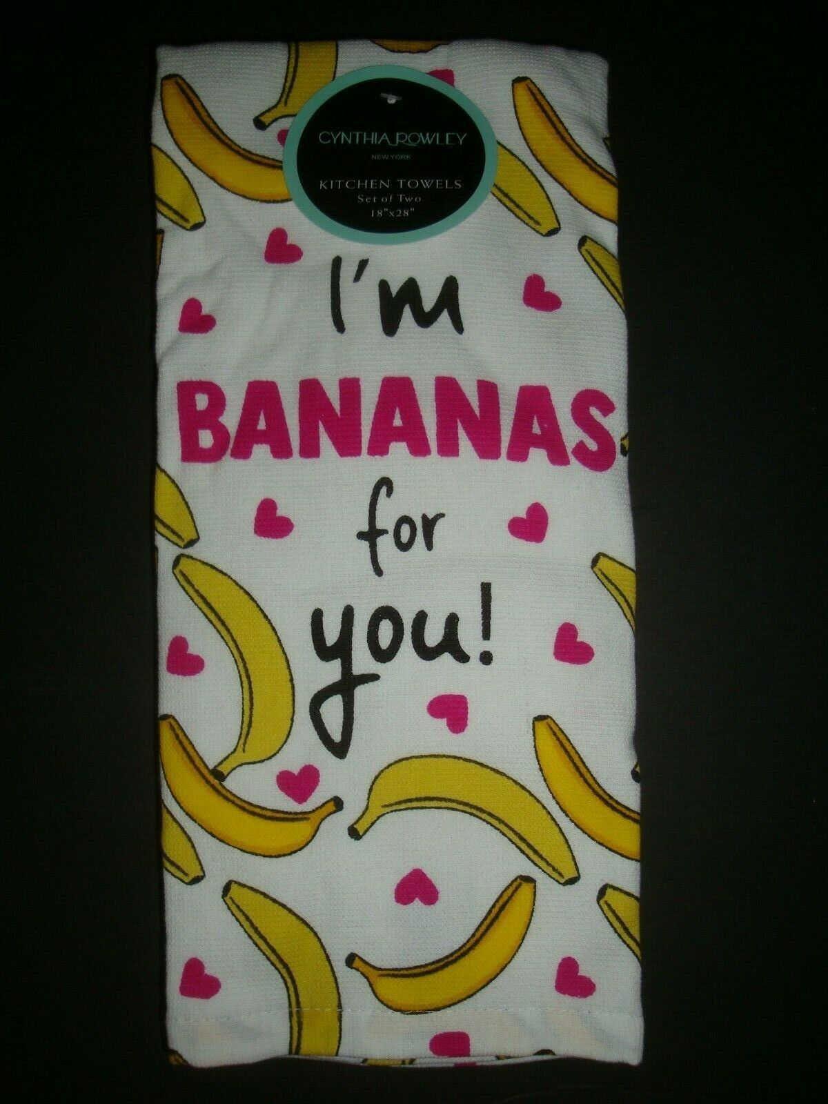 New Cynthia Rowley Set of 2 Kitchen Towels 100% Cotton I'm Bananas for You!