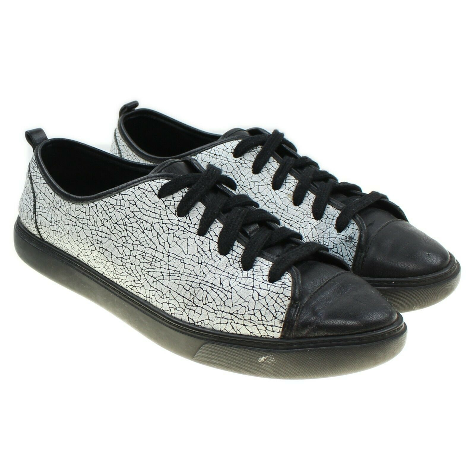 COLE HAAN Grand Womens White Black Leather Crackle Pattern Low Top Sneakers 6.5 - $47.01 CAD