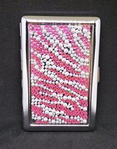 Fujima Metal Hot Pink Stone Zig Zag Design 100s Size Cigarette Case - $9.99