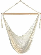 Mayan Hammock Chair - Large Cotton Rope Hanging Chair Swing (Natural White) - $64.93