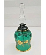 Green Bohemia Glass Bell Gold Gilt Made In Czechoslovakia Collectible Bell - $13.81