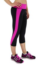 NEW W SPORT WOMEN'S ATHLETIC GYM WORK OUT CAPRI LEGGINGS PANTS BLACK PINK AP4831 image 2