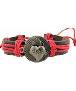 Sacred Heart Medal 8 Inch Adjustable Leather Bracelet Christian Jewelry ... - $9.41