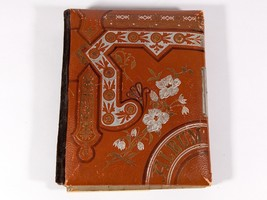 FREE SHIP: Vintage Leather Photo Album - Ornate Embossed Silver on Brown... - $23.38